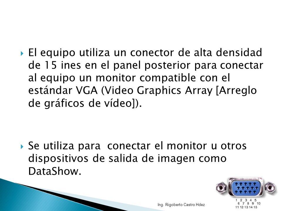 El equipo utiliza un conector de alta densidad de 15 ines en el panel posterior para conectar al equipo un monitor compatible con el estándar VGA (Video Graphics Array [Arreglo de gráficos de vídeo]).